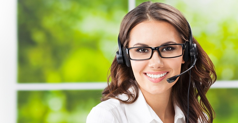 Call center operator answering phones